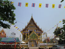 View of temple with flags at Wat Nong Yai Pattaya. Wat Nong Yai at Pattaya Thailand view with flags Royalty Free Stock Image