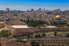 View on the Temple Mount with its landmarks Stock Photography