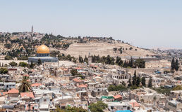 View of the Temple Mount and Jerusalem from the Corner tower of the Evangelical Lutheran Church of the Redeemer in the old city of Royalty Free Stock Image