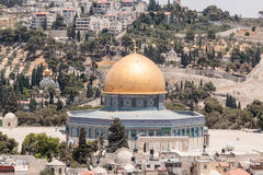 View of the Temple Mount and Jerusalem from the Corner tower of the Evangelical Lutheran Church of the Redeemer in the old city of Stock Image