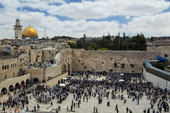 Jerusalem Temple Mount View. A view of Temple Mount in Jerusalem, including the Western Wall and golden Dome of the Rock Royalty Free Stock Photo