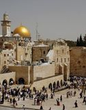 A view of the Temple Mount in Jerusalem. Including the Western Wall and the golden Dome of the Rock Royalty Free Stock Image