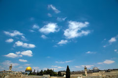 Dome of the Rock & Al-Aqsa. A view of the Temple Mount in the old city of Jerusalem, onlooking The Dome of the Rock and Al-Aqsa mosque, as well as a small Stock Photography