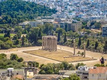 View of the Temple of Olympian Zeus. Athens, Greece - August 23, 2011: Aerial view of the Temple of Olympian Zeus in Athens, Greece Royalty Free Stock Photo