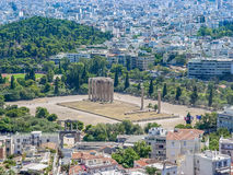 View of the Temple of Olympian Zeus. Athens, Greece - August 23, 2011: Aerial view of the Temple of Olympian Zeus in Athens, Greece Royalty Free Stock Photography