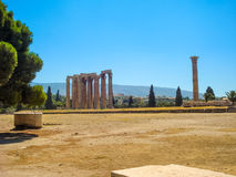 View of the Temple of Olympian Zeus. Athens, Greece - August 23, 2011: View of the Temple of Olympian Zeus in Athens, Greece Stock Images