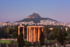 View of the Temple of Olympian Zeus and Mount Lycabettus in the Stock Photos