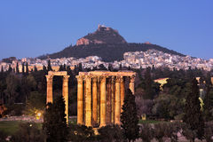 View of the Temple of Olympian Zeus and Mount Lycabettus in the royalty free stock photos