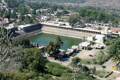 View of Temple Pond. Aerial view of famous temple pond at pilgrimage center Melkote, Karnataka, India, Asia Stock Photos