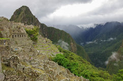 View of temple ruins and terrace in Lost Inca City of Machu Picc Royalty Free Stock Photos
