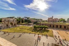 View with Temple of Venus and Arch of Constantine. ROME, ITALY - MAY 30, 2017: View with Temple of Venus and Arch of Constantine from the height of the Colosseum Stock Images