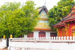View of the temple Wat Sensoukaram in Louangphabang, Laos. Copy space for text. Stock Image