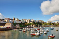 View of Tenby harbour and town on a summers day . View of the picturesque curve of Tenby harbour and town, with boats peacefully moored, on a lovely summers day Royalty Free Stock Image