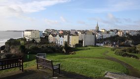 View of Tenby town and harbour Wales PAN Stock Photos
