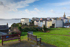 View of Tenby Wales with Caldey Island in background Stock Photo