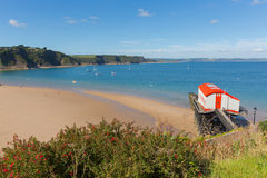 View from Tenby Wales UK of the coast and Carmarthen Bay in summer Royalty Free Stock Photography