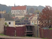 View of tenement houses in the old town. In Kazmierz Dolny in Poland stock images