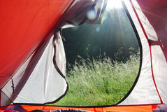 View from a tent Stock Photo