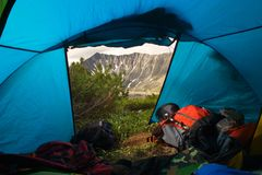 View from tent. View from the tent in the morning the mountain Royalty Free Stock Image