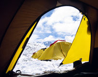 View from tent. View from inside a tent in an Himalayan base camp Royalty Free Stock Photos