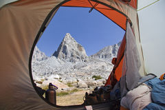 View from the tent. View of the mountain through the tent entrance Stock Photography