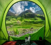 View from tent Glencoe in summer, Scotland royalty free stock photo