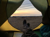View from tent on Lake Baikal. Royalty Free Stock Images