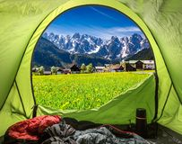 View from tent to village Gosau in Austrian Alps. Europe Stock Photography