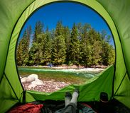 View from tent to wild river in Tatras mountains stock images
