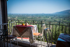 View on the terrace of Greek taverna Royalty Free Stock Photos