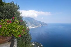 View from Terrace of Infinity in Villa Cimbrone Gardens Stock Photos