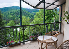 View from the terrace of the mountains Stock Photography