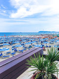 View from the terrace of the restaurant to the beach and the sea, Italy, Riccione stock photo