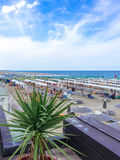 View from the terrace of the restaurant to the beach and the sea stock photography