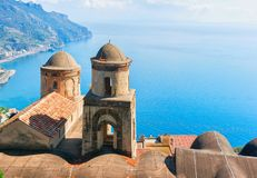 View from terrace on Tyrrhenian sea in Ravello village Royalty Free Stock Photo