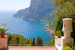 View from terrace of villa. Spectacular view from the terrace of luxury villa Stock Photography