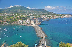 The view from the terraces of the Aragonese castle on Ischia isl. And, a magnificent Bay with the ships and the bridge on a clear Sunny day Stock Photos