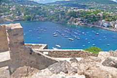 The view from the terraces of the Aragonese castle on Ischia isl. And and magnificent Bay with the ships on a clear Sunny day Stock Images
