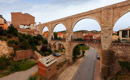 View of Teruel with Los Arcos aqueduct. Aragon, Spain royalty free stock images