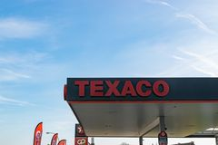 View of Texaco petrol stations. Mouscron,BELGIUM-March 24,2019: View of Texaco petrol stations.Texaco is an American oil subsidiary of Chevron Corporation stock image