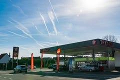 View of Texaco petrol stations. Mouscron,BELGIUM-March 24,2019: View of Texaco petrol stations.Texaco is an American oil subsidiary of Chevron Corporation stock photos