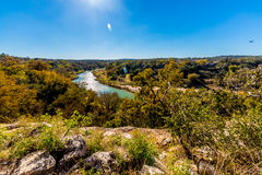 View of the Texas Pedernales River from a High Bluff Stock Photography