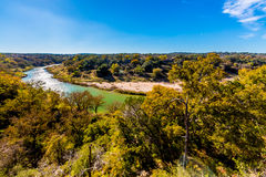 View of the Texas Pedernales River from a High Bluff. With Fall Foliage Surrounding the River Royalty Free Stock Photography