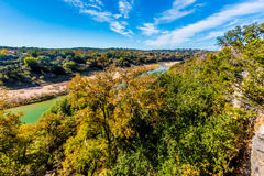 View of the Texas Pedernales River from a High Bluff. With Fall Foliage on the Trees Lining the River Stock Images