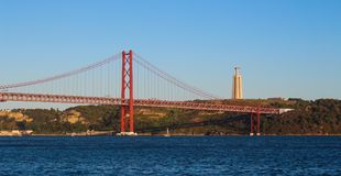 25th of April Bridge and Christ the King Statue Royalty Free Stock Photography