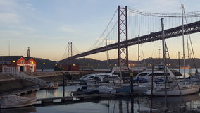 View on the 25th April bridge Royalty Free Stock Images