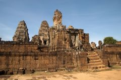 View of the 10th Century East Mebon temple ruins. Scene around the Angkor Archaeological Park. The site contains the remains of the different capitals of the Stock Photo