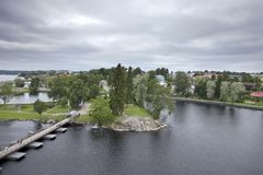 View from the 15th-century medieval castle wall Olavinlinna Olofsborg in Savonlinna, Finland.  royalty free stock photography