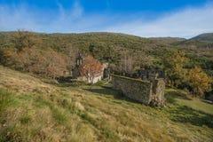 Ruined monastery of Pitoes das Junias, Municipality of Montalegre. Peneda Gerês National Park. Portugal. View from tha Ruined monastery of Pitoes das Junias stock photography