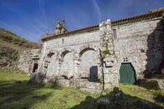Ruined monastery of Pitoes das Junias, Municipality of Montalegre. Peneda Gerês National Park. Portugal. View from tha Ruined monastery of Pitoes das Junias stock photo